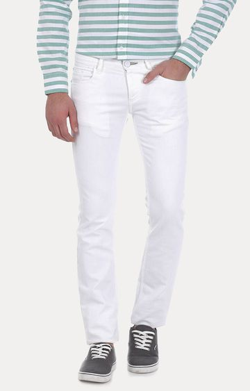 Basics | White Solid Straight Jeans