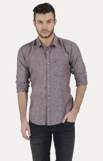 Basics | Brown Melange Casual Shirt