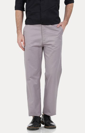 Basics | Grey Straight Chinos