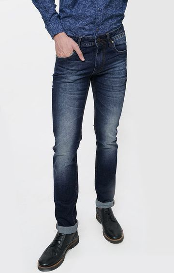 Basics | Navy Solid Straight Jeans