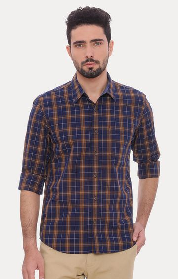 Basics   Navy and Brown Checked Casual Shirt