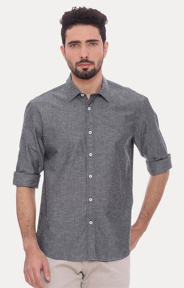 Basics | Mid Grey Melange Casual Shirt