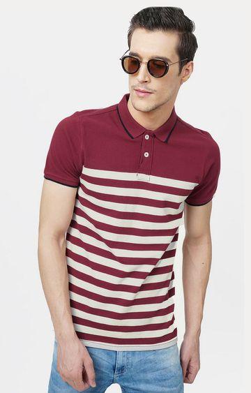 Basics   Maroon and Cream Striped Polo T-Shirt