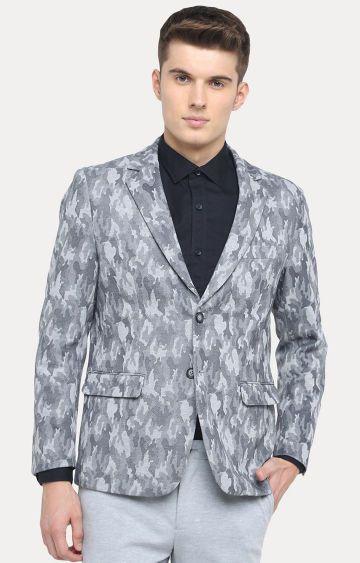 Basics | Light Grey Printed Blazer