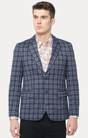 Basics | Navy Checked Blazer