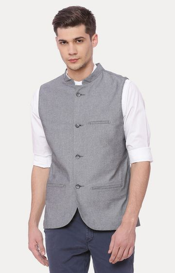 Basics | Grey Solid Ethnic Jacket