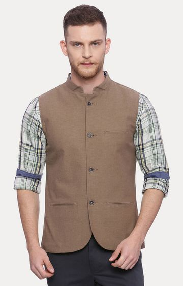 Basics | Mid Brown Solid Ethnic Jacket