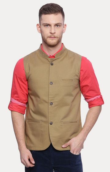 Basics | Khaki Solid Ethnic Jacket