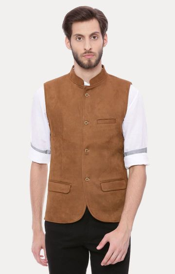 Basics | Brown Melange Ethnic Jacket