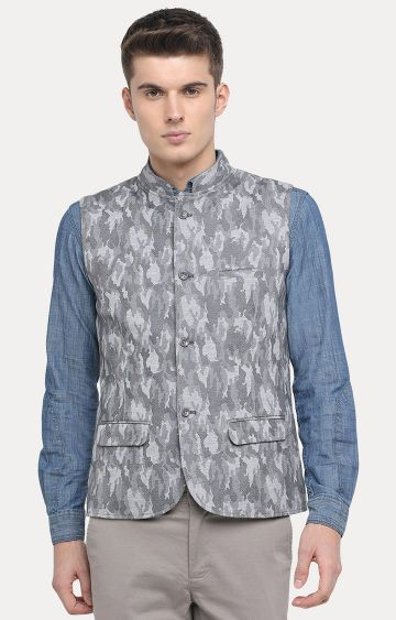 Basics | Light Grey Printed Ethnic Jacket