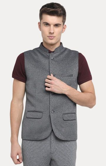 Basics | Dark Grey Melange Ethnic Jacket