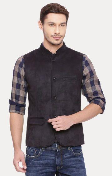 Basics   Black Solid Ethnic Jacket