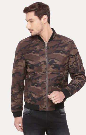 Basics | Brown Printed Bomber Jacket
