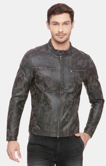 Basics | Brown and Black Printed Leather Jacket