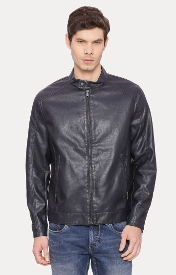 Basics | Navy Solid Leather Jacket