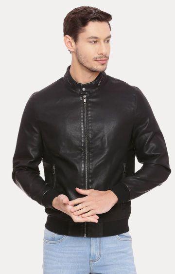 Basics | Black Solid Leather Jacket