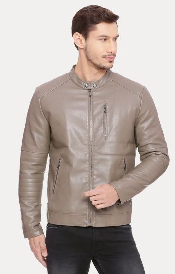 Basics | Beige Solid Leather Jacket