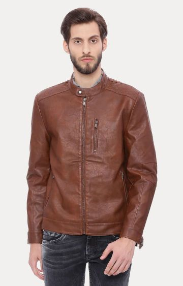 Basics | Brown Solid Leather Jacket