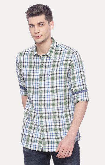 Basics | Green and Blue Checked Casual Shirt