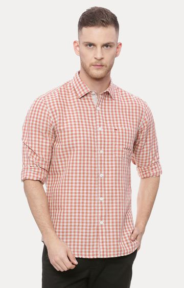 Basics | Orange Checked Casual Shirt
