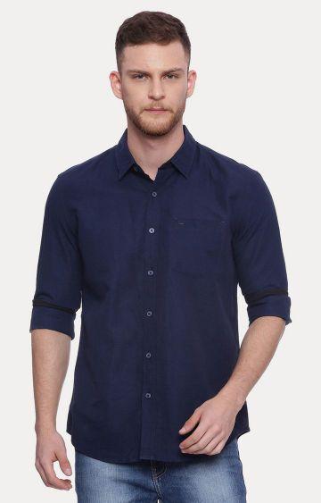 Basics | Navy Solid Casual Shirt