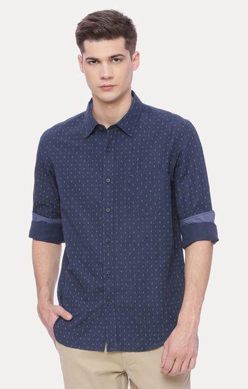 Basics | Navy Blue Printed Casual Shirt