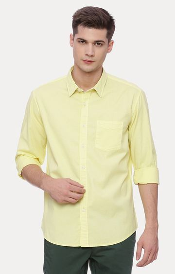 Basics | Yellow Solid Casual Shirt