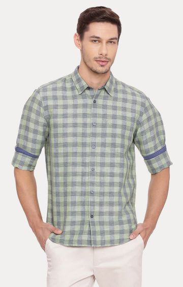 Basics | Green Checked Casual Shirt
