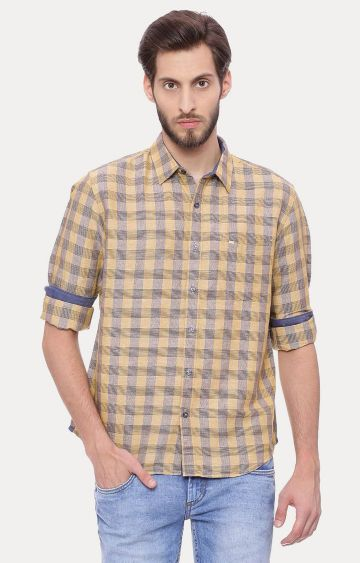Basics | Light Khaki Checked Casual Shirt