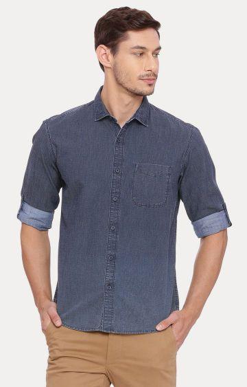 Basics   Blue Solid Casual Shirt