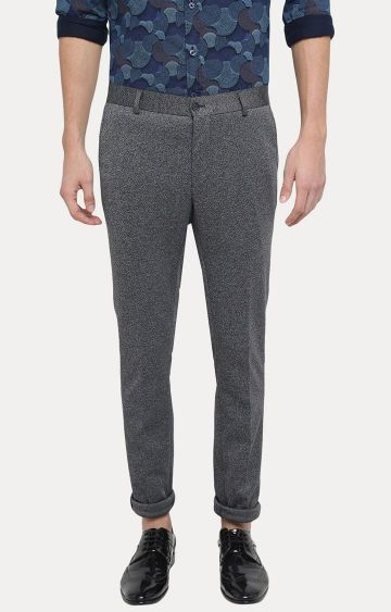 Basics | Dark Grey Melange Tapered Chinos