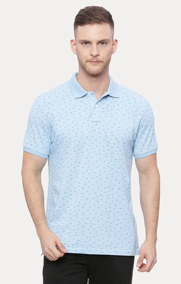 Basics | Light Blue Printed Polo T-Shirt