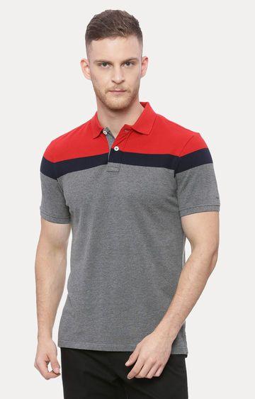Basics | Grey Colourblock Polo T-Shirt