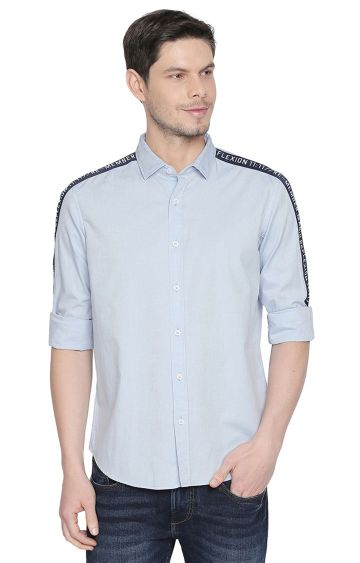 Basics | Blue Solid Casual Shirt