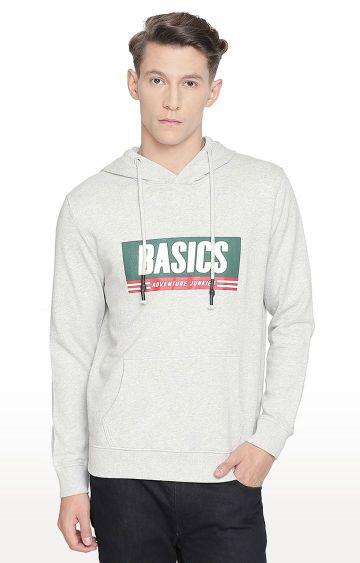 Basics | Grey Printed Hoodie
