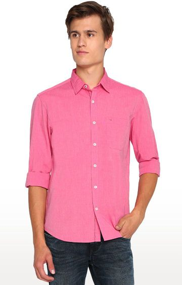 Basics | Pink Solid Casual Shirt