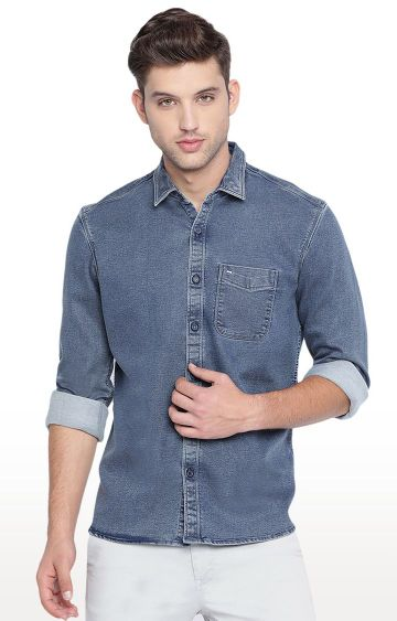 Basics | Navy Solid Casual Shirt