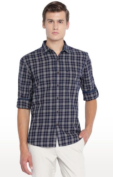 Basics | Blue Checked Casual Shirt