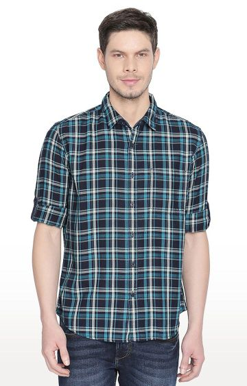 Basics | Turquoise Checked Casual Shirt