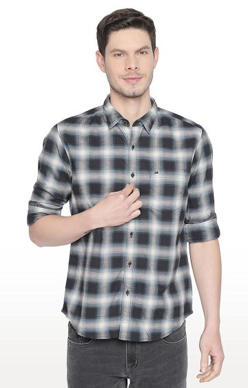 Basics | Grey Checked Casual Shirt