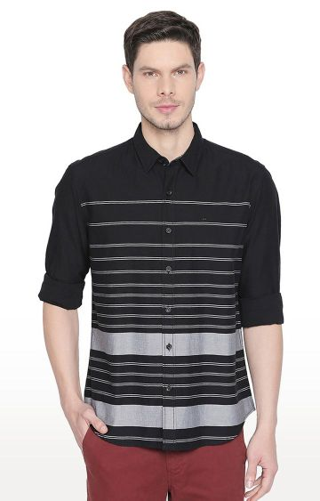 Basics | Black Striped Casual Shirt