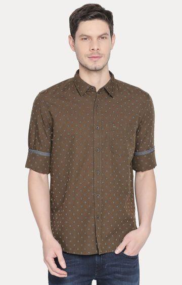 Basics | Brown Printed Casual Shirt