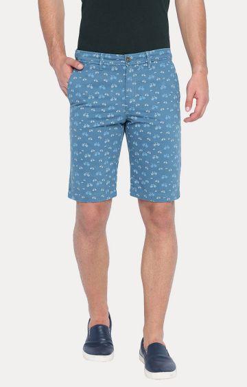 Basics | Blue Printed Shorts