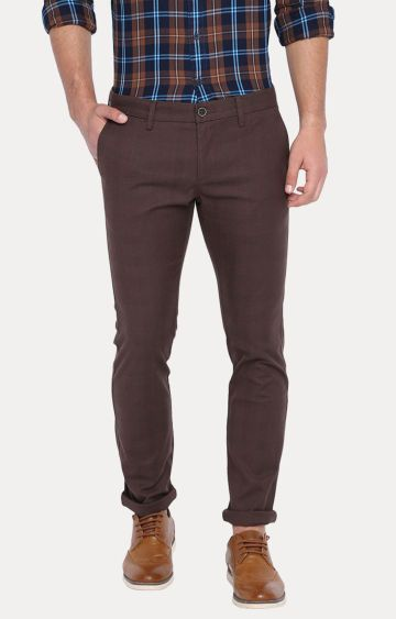 Basics | Brown Solid Straight Chinos