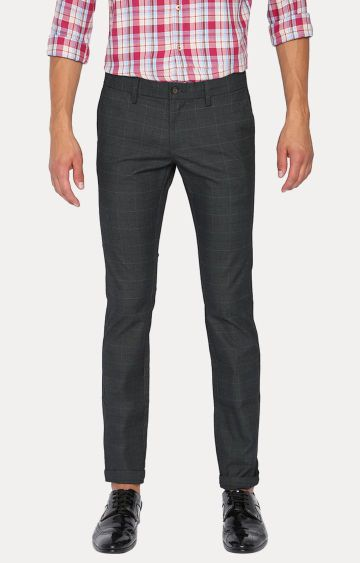 Basics | Grey Checked Straight Chinos
