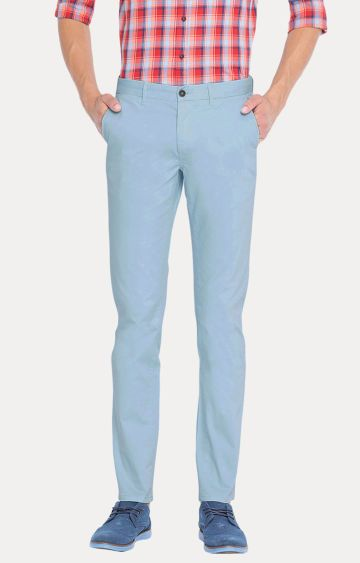 Basics | Blue Solid Straight Chinos