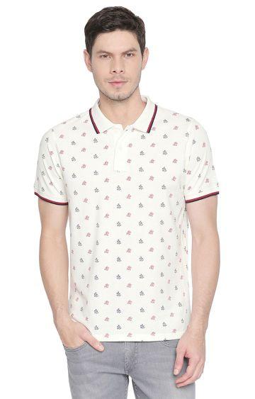Basics | White Printed Polo T-Shirt