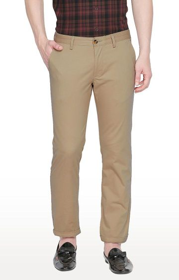 Basics | Beige Straight Chinos