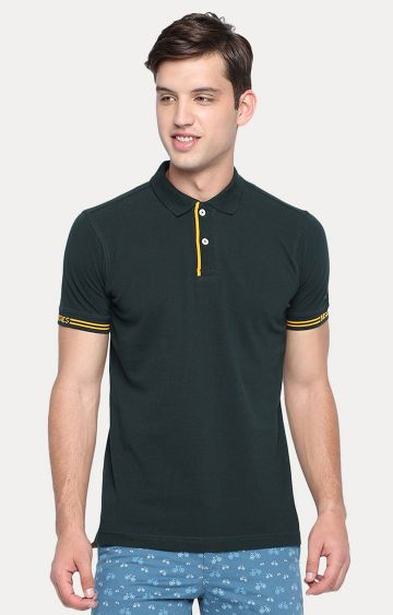 Basics | Green Solid Polo T-Shirt