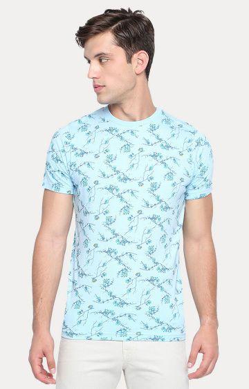 Basics   Blue Printed T-Shirt